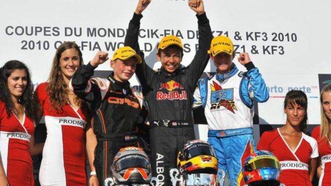 Albon vince una gara di kart nel 2010 davanti a Verstappen (di un anno e mezzo più giovane)