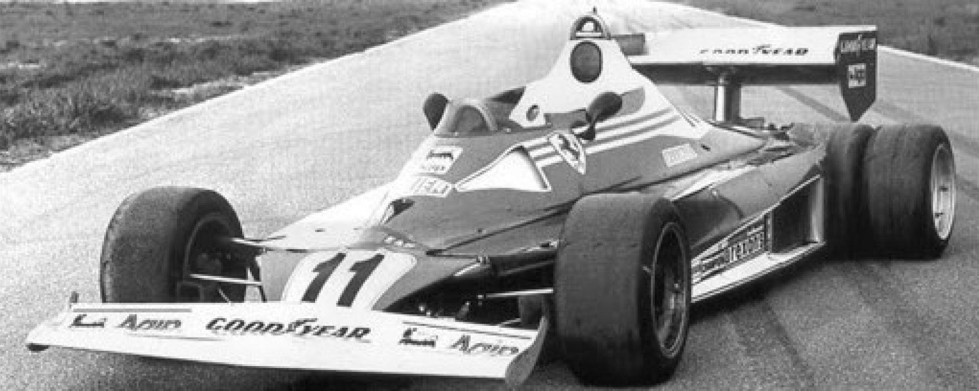 1977, il prototipo Ferrari 312 T6 in pista a Nardò
