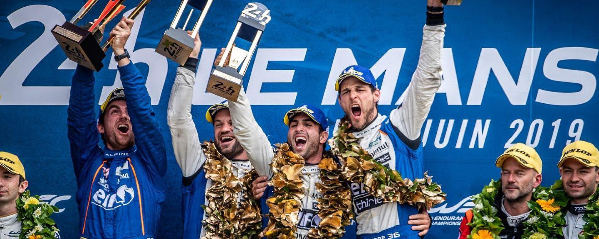 24 Ore di Le Mans 2019, Negrao sul gradino più alto del podio con i compagni Thiriet e Lapierre