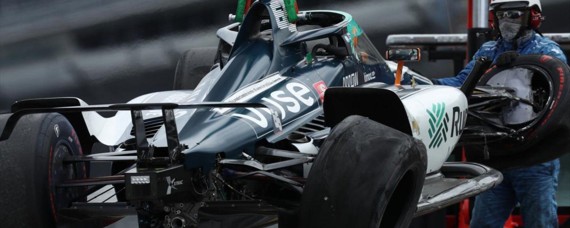 500 Miglia di Indianapolis 2020: la vettura incidentata di Fernando Alonso