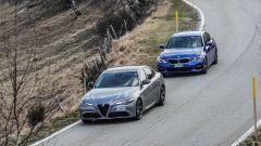 Alfa Giulia vs BMW Serie 3: un momento della prova su strada