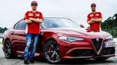Alfa Romeo Giulia con Vettel e Raikkonen