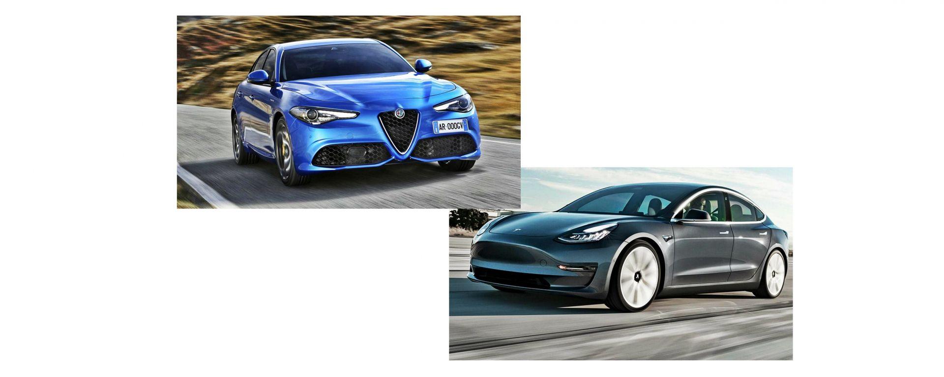 Alfa Romeo Giulia e Tesla Model 3