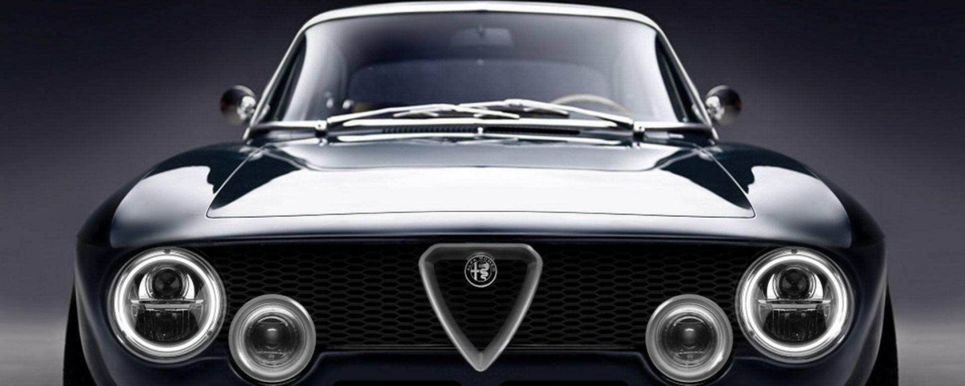 Alfa Romeo Giulia GT electric by Totem Automobili, il frontale con fari a LED