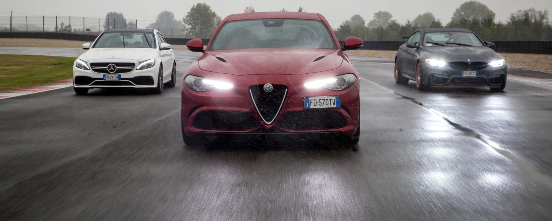 Alfa Romeo Giulia Quadrifoglio, BMW M4 GTS, Mercedes C63 AMG S: il confronto in pista