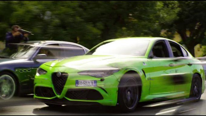 Alfa Romeo Giulia Quadrifoglio durante le riprese di 6 Underground