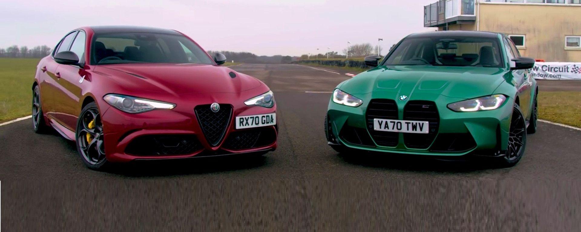 Alfa Romeo Giulia Quadrifoglio vs BMW M3 Competition - dal video di Auto Express