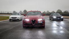 Alfa Romeo Giulia Quadrifoglio, BMW M4 GTS, Mercedes C63 AMG S: il video della sfida in pista