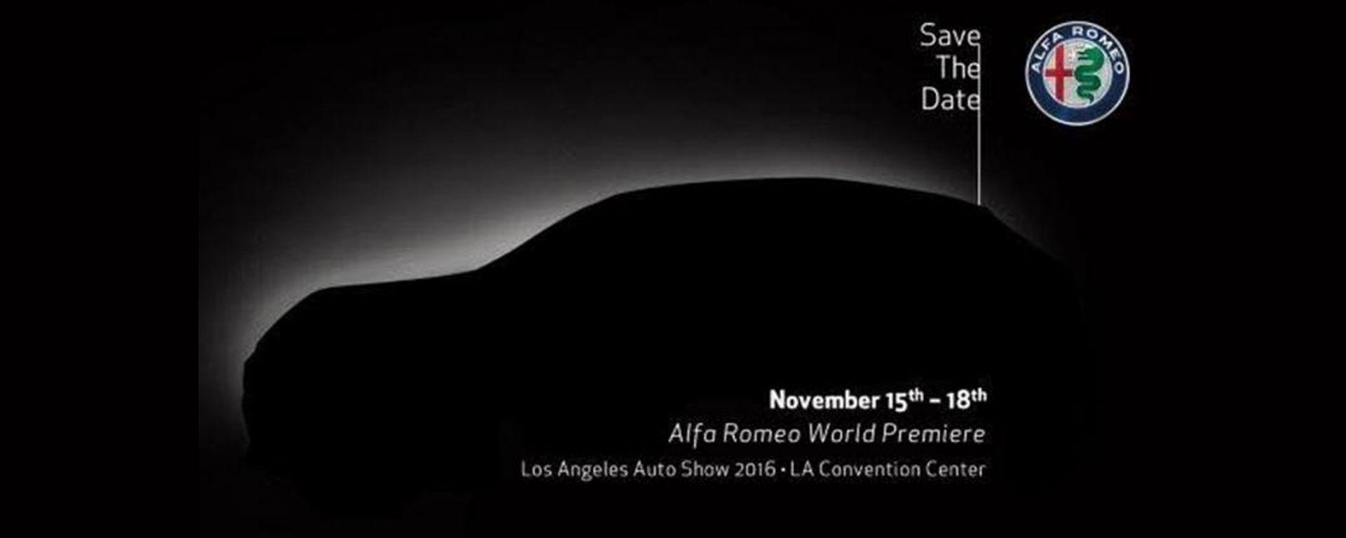 Alfa Romeo Stelvio: la prima immagine teaser della suv italiana è comparsa sul sito del Salone di Los Angeles