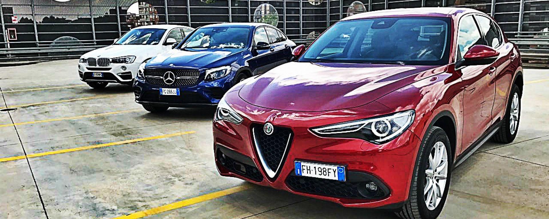 Alfa Romeo Stelvio vs Mercedes GLC Coupé vs BMW X4