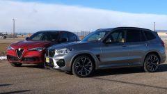 Alfa Stelvio Quadrifoglio vs BMW X3 M Competition, super Suv alla resa dei conti