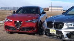 Alfa Stelvio Quadrifoglio vs BMW X3 M Competition, uguale V6 contro 6 cil. in linea