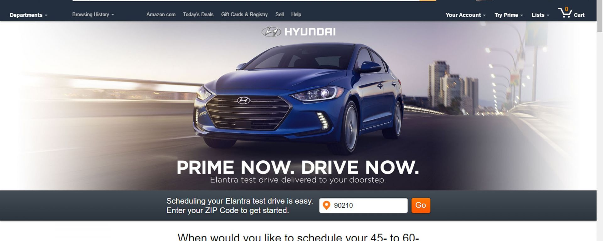 Amazon Prime Now per i test drive Hyundai