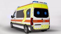 Ambulanza Mercedes Olmedo Sprinter 314: visuale di 3/4 posteriore