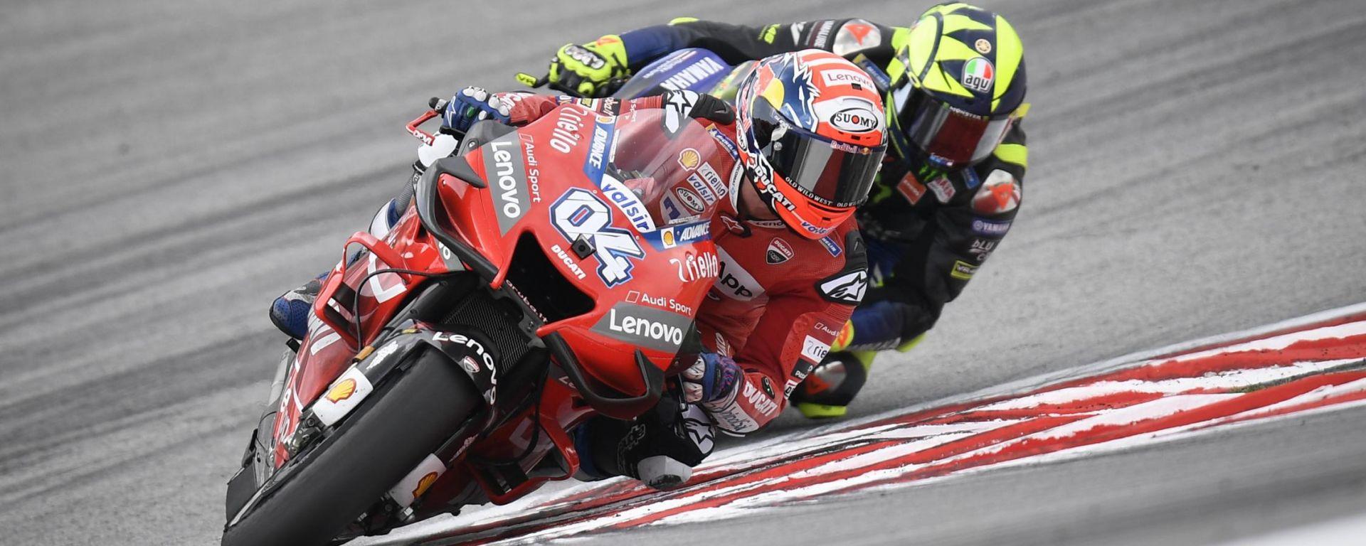 Andrea Dovizioso (Ducati) e Valentino Rossi (Yamaha)