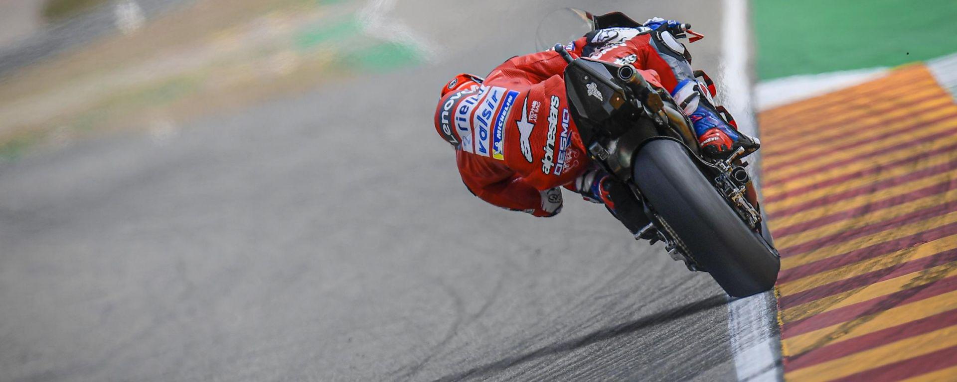 Andrea Dovizioso (Ducati) impegnato ad Aragon nel 2019