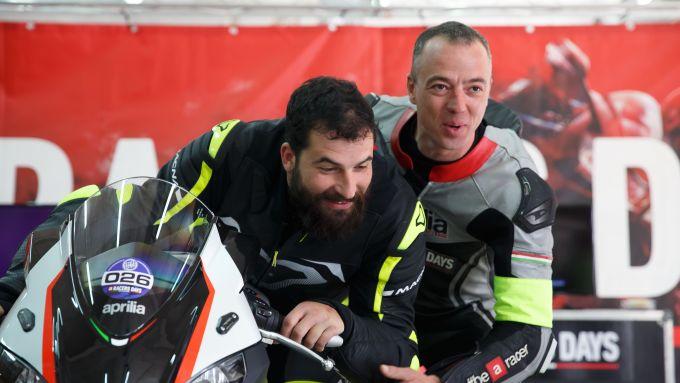 Aprilia Riding Academy: il nostro Danilo con Lorenzo Campani, responsabile istruttori, all'edizione 2019