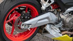 Aprilia RS 660: il forcellone è infulcrato direttamente al motore