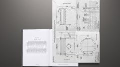 Aston Martin e Bowmore: il libro aperto sulla pagina che contiene i disegni tecnici del pistone della DB5