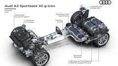 Audi A3 Sportback g-tron S tronic: il collocamento di motore e bombole del gas