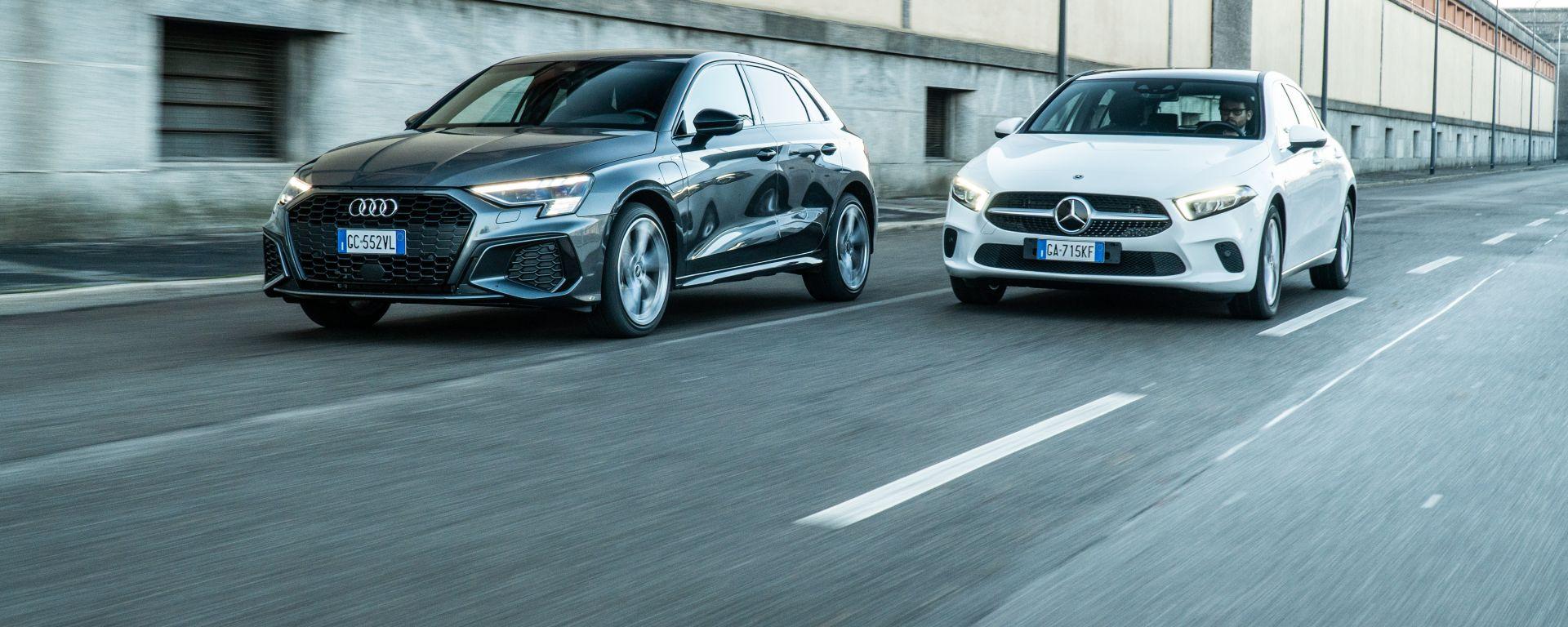 Audi A3 vs Mercedes Classe A plug-in hybrid: la comparativa delle compatte premium PHEV