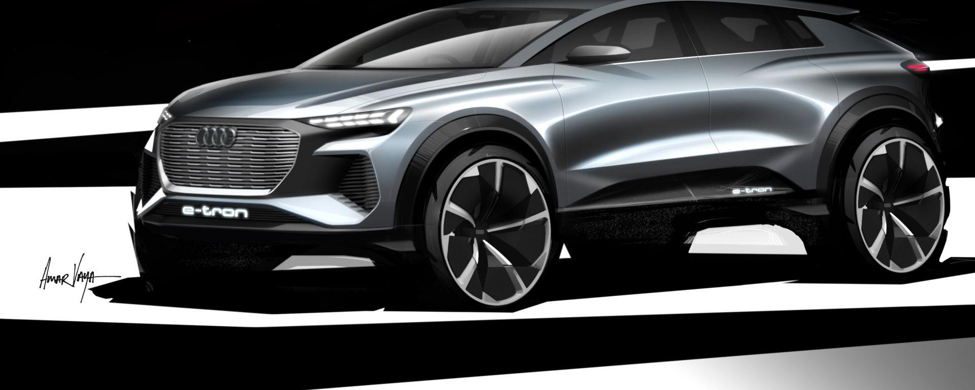 Audi Q4 e-tron concept, primi schizzi