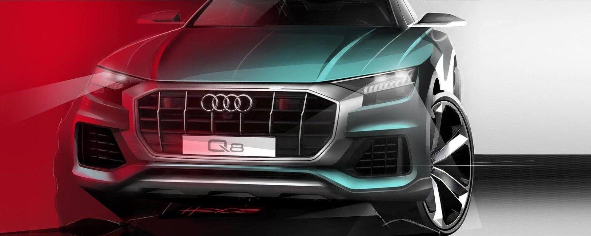 Nuova Audi Q8, un teaser tira l'altro. Ecco il frontale