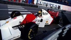 Ayrton Senna con la MP4/8 nel GP di Monaco 1993