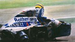 Ayrton Senna immaginato nell'atto di uscire dalla sua Williams incidentata a Imola '94