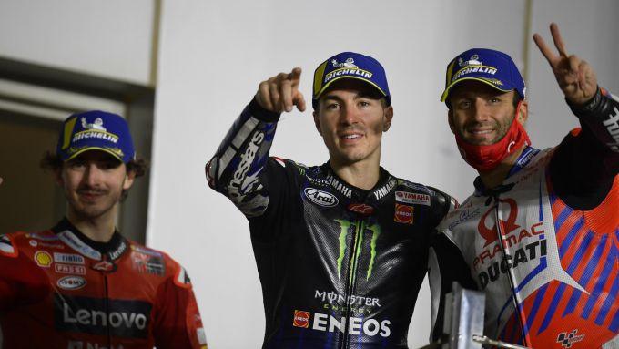 Bagnaia (Ducati), Vinales (Yamaha) e Zarco (Ducati) dopo il GP Qatar 2021