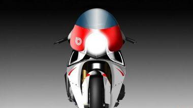 Bimota KB4: una vista frontale della quattro cilindri con motore Kawasaki Ninja 1000SX