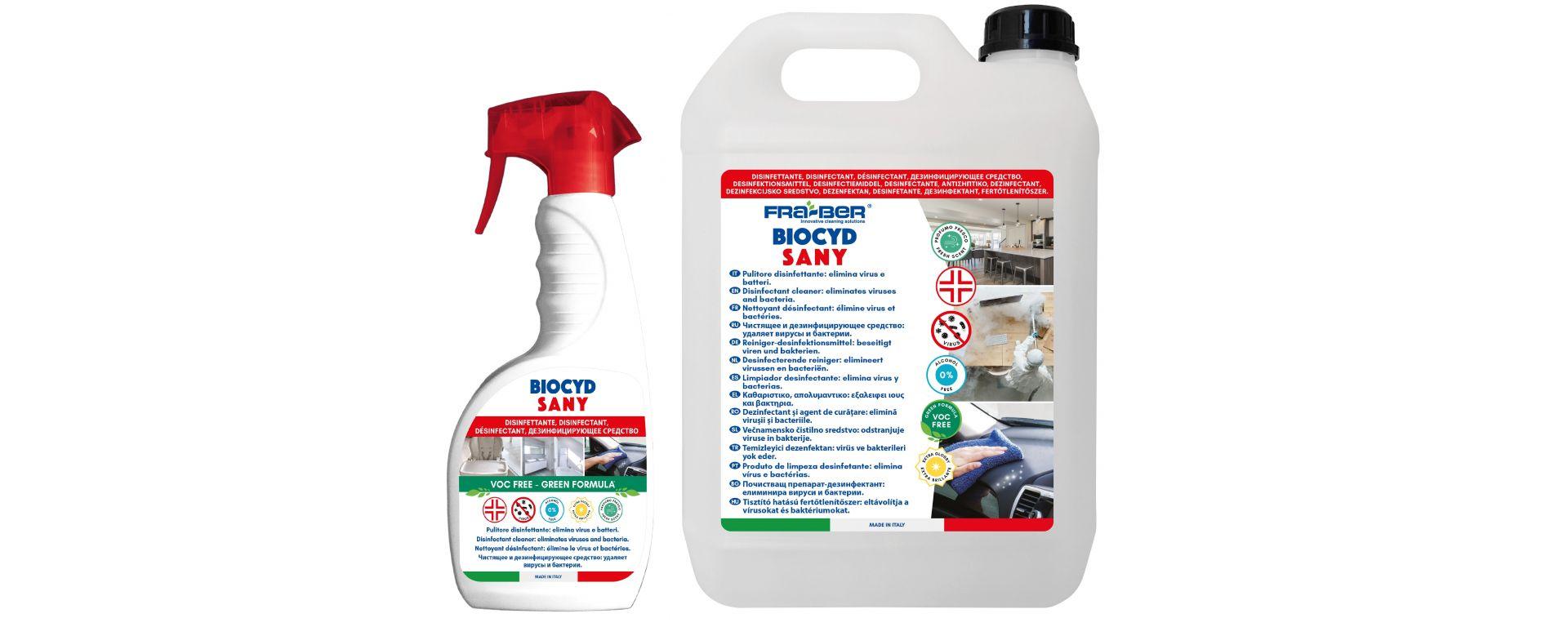 Biocyd Sany Fra-Ber: lo spruzzatore da 750 ml e la tanica da 5 litri