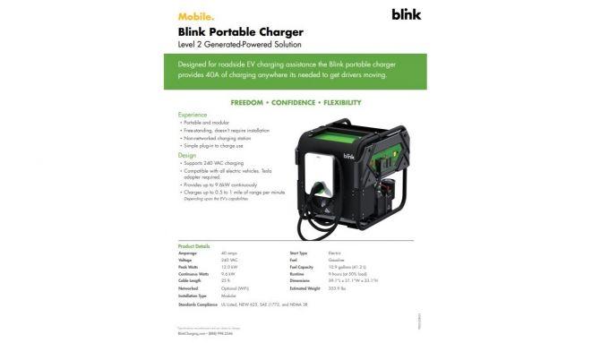 Blink, la scheda tecnica del caricabatterie portatile per auto elettriche