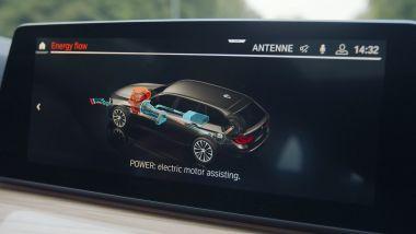 BMW Serie 3 mild hybrid, il funzionamento sul display di bordo