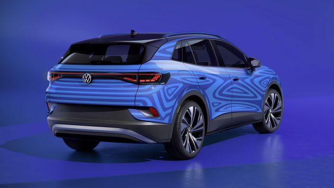 Bozzetto di ID.4, il SUV elettrico compatto di Volkswagen: visuale di 3/4 posteriore
