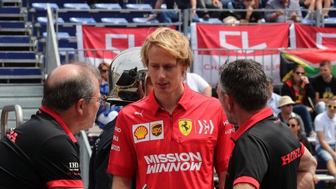 Brendon Hartley a Montreal con la divisa Ferrari F1