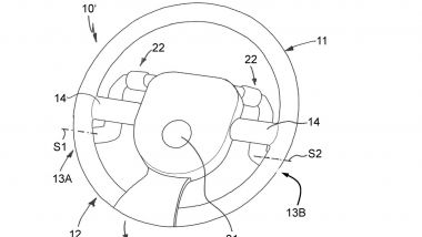 Brevetti BMW: un dettaglio del volante pieghevole