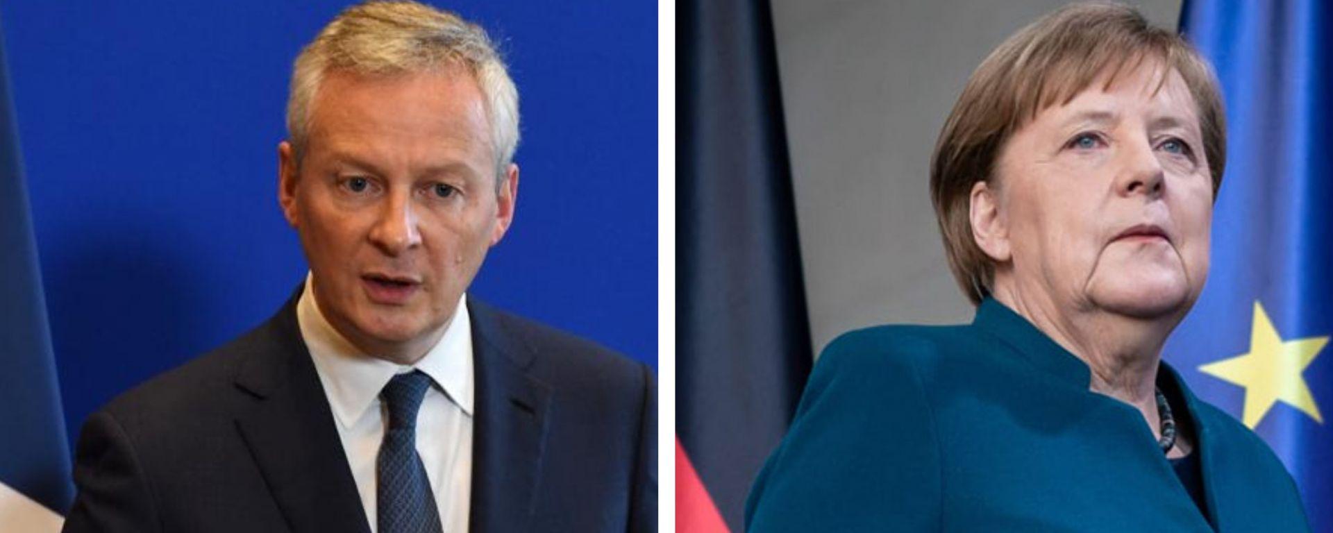 Bruno Le Maire e Angela Merkel: sostegno alle rispettive Case auto nazionali