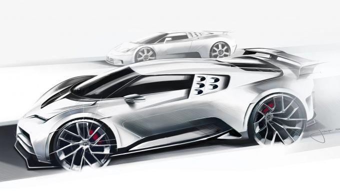 Bugatti Centodieci a confronto con Bugatti EB 110 in un bozzetto di Jascha Straub