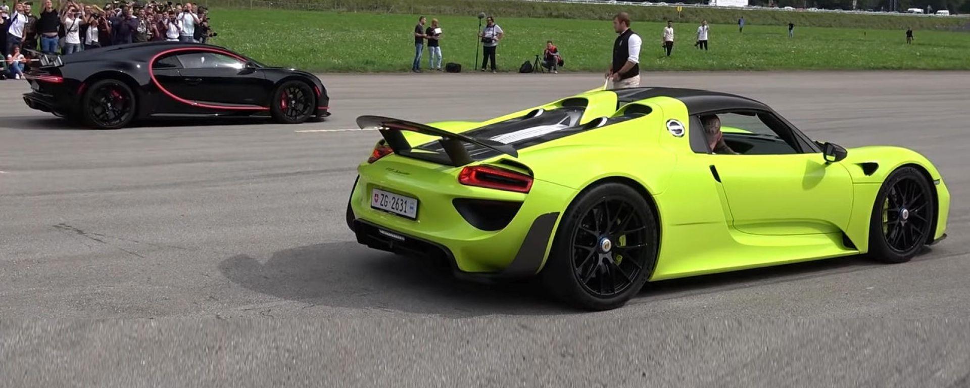 Bugatti Chiron vs Porsche 918 Spyder: la drag race