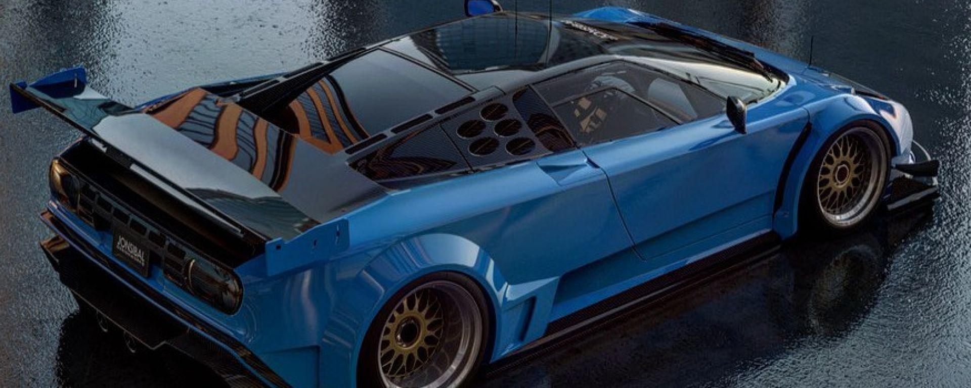 Bugatti EB110 Le Mans, un rendering da endurance
