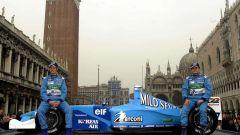 Button e Fisichella presentano la Benetton B201 2002 a Venezia