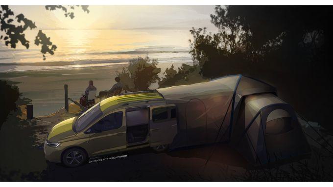 Caddy Mini Camper con la tenda nella parte posteriore