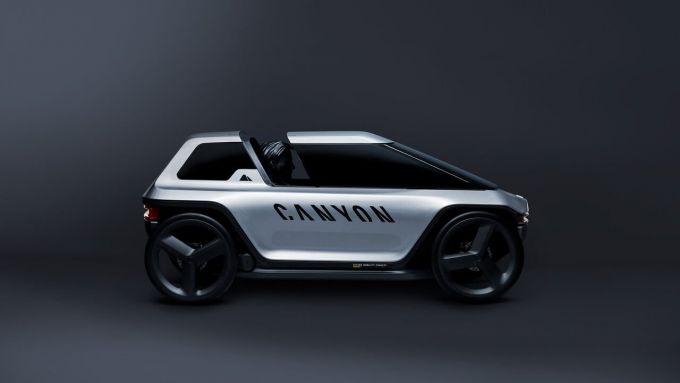 Canyon Future Mobility Concept: visto di lato con la capsula aperta
