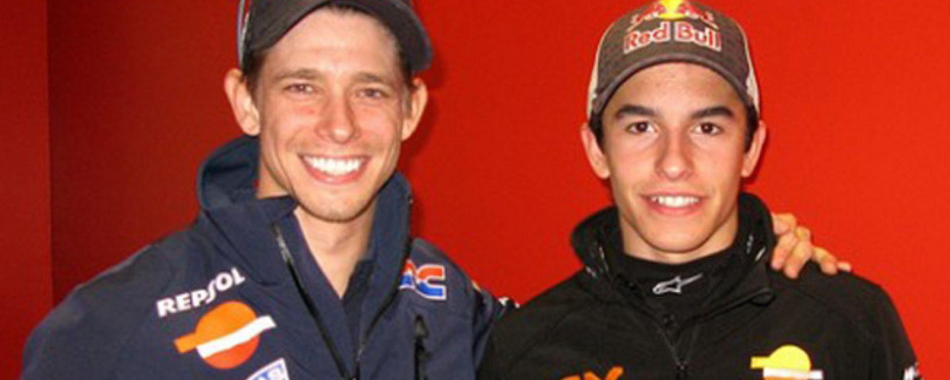 Casey Stoner con un giovanissimo Marc Marquez i tempi della Honda