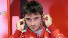 Charles Leclerc (Ferrari) determinato al box Ferrari a Monza