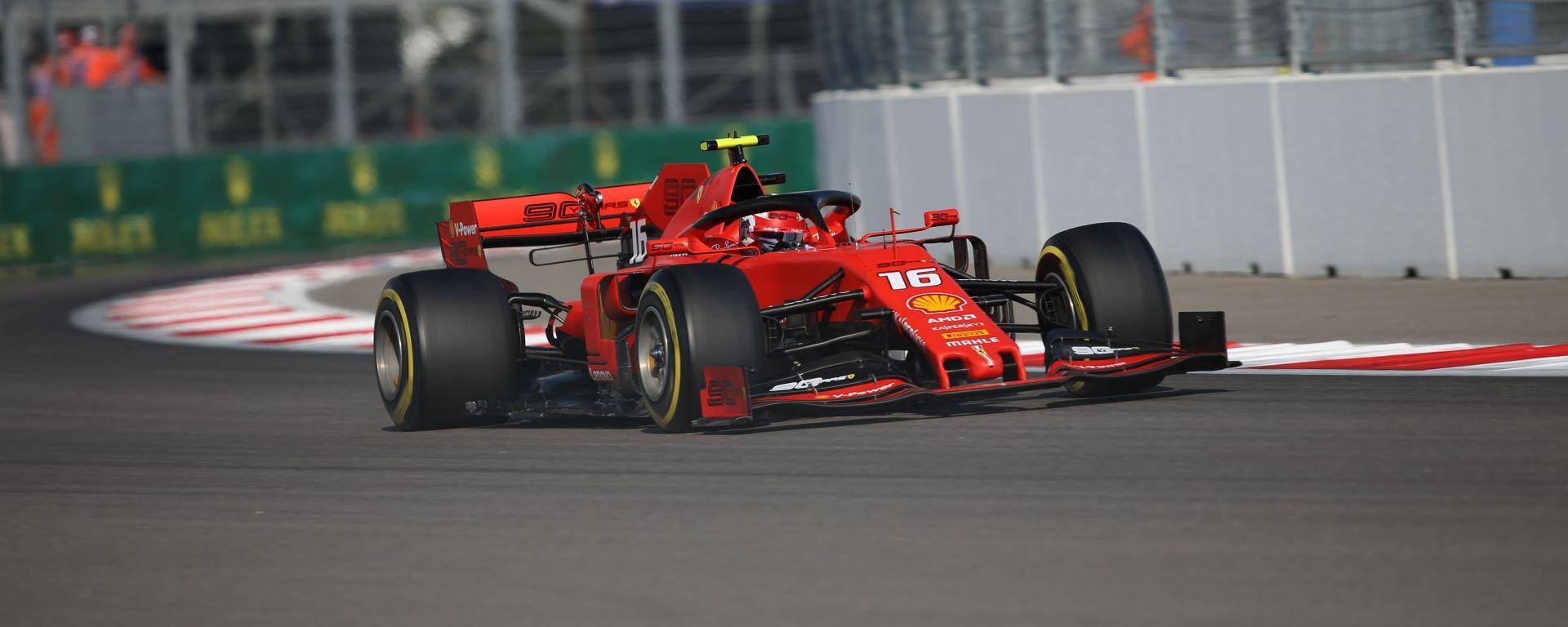Charles Leclerc (Ferrari) in pista a Sochi