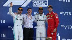 Charles Leclerc (Ferrari) sul podio a Sochi