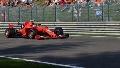 Charles Leclerc in pista a Spa sulla sua Ferrari