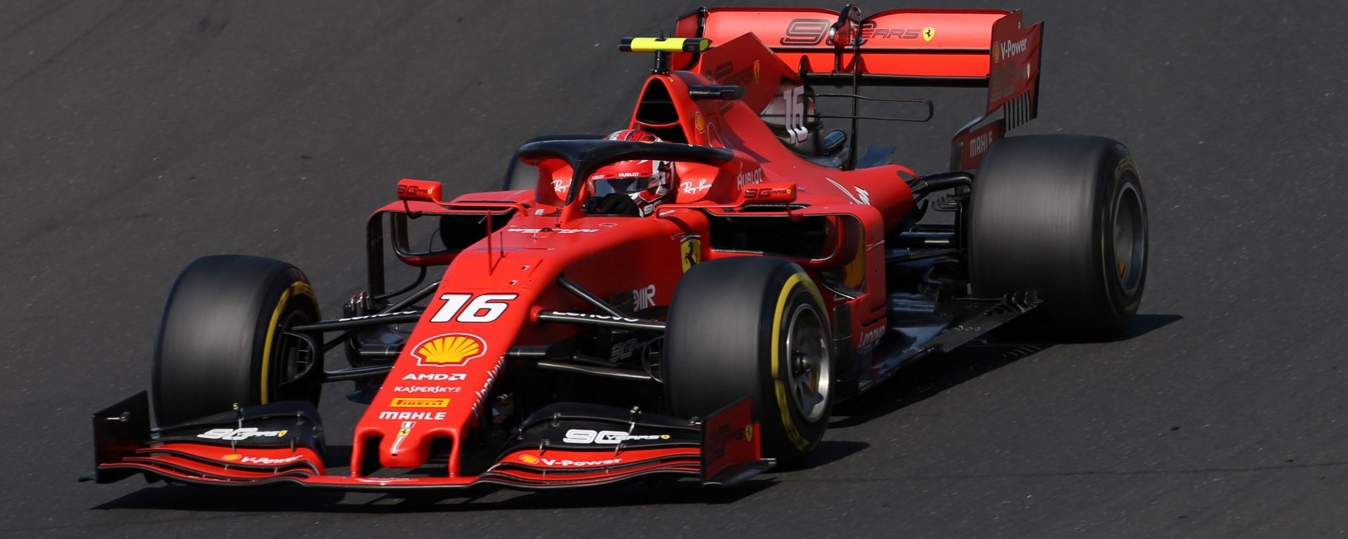 Charles Leclerc in pista all'Hungaroring con la Ferrari
